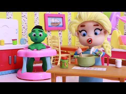 Elsa cooking Baby Hulk 💕Play Doh Stop motion videos for children