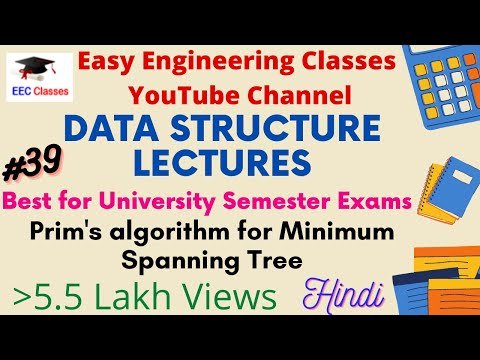 Prim's algorithm for Minimum Spanning Tree in (Hindi, English) with Example
