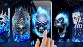 Horrible Blue Fire Skull Live Wallpapers Themes screenshot 4