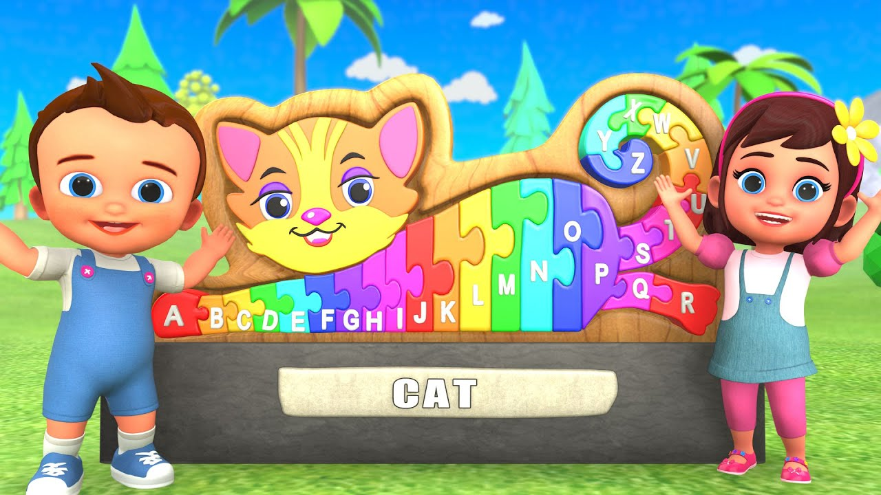 Learning Alphabets with Wooden Wooden Cat Puzzle Toy Set | Alphabets For Kids 3D Edu Videos Songs