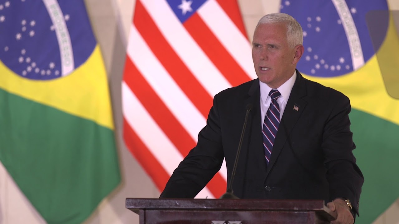 Hasil gambar untuk Vice President Mike Pence Meets with the President of Brazil