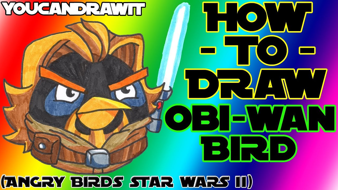 how to draw obi wan bird from angry birds star wars 2