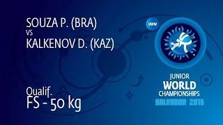 Qual. FS - 50 Kg: D. KALKENOV (KAZ) Df. P. SOUZA (BRA) By TF, 10-0