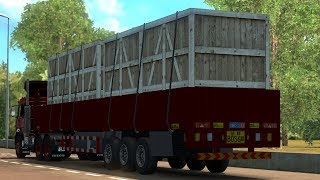 [1.30] Euro Truck Simulator 2 | Wooden Box for Low Column Flatbed Trailer | Mods