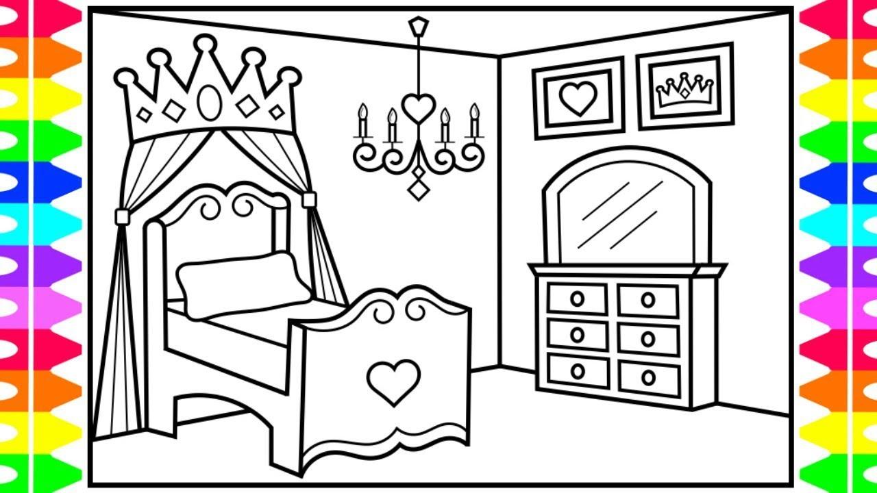 How To Draw A Princess Bedroom For Kids 👑💖💜💚princess