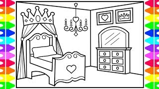 How to Draw a Princess Bedroom for Kids 👑💖💜💚Princess Bedroom Drawing and Coloring Pages for Kids