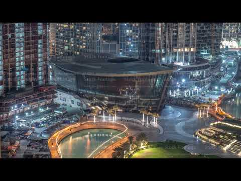 Dubai Opera located in Downtown is the radiant centre of culture and arts in Dubai night timelapse