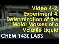 determining mass of a voltaile liquid How do i determine whether a particular volume of volatile liquid is sufficient to determine its molar mass for example, 400 ml of methanol and its density is 0796 g/ml at 392 k, 1037 atm, flask has a volume of 150 ml.