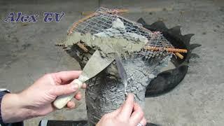 Säule aus Sand und Zement in Baumstamm optik für Garten selber machen.