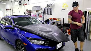 HOW-TO 4D CARBON FIBER HOOD WRAP | FK7 HONDA CIVIC CARBON FIBER HOOD WRAP