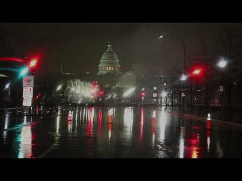 A short, silent drive through Washington DC in the rain and fog on a Sunday night.