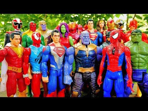 Thanos vs Avengers + Superman, Spiderman, Hulk, Iron Man, Batman - Marvel vs DC Full Fight! - 동영상