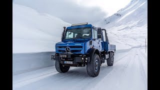 Mercedes-Benz Unimog U4023 tested off-road on ice and snow in Austria