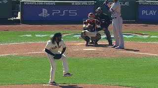 TRIPLE SHIMMY! Johnny Cueto does a little dance to get the strikeout 🤣