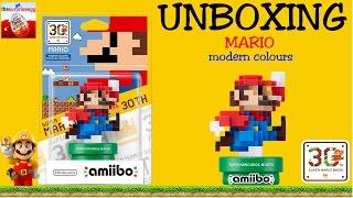 NEW Unboxing Amiibo 8-bit Super MARIO modern colours figure
