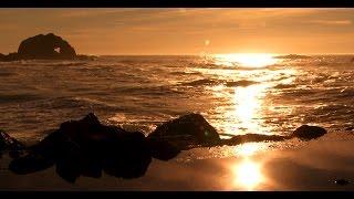 Zen Ocean of Bliss- Golden California Coast (No Music) Wave Sounds Only - Mindfulness, Relaxation