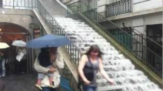 Paris France Flood! Steps of Montmartre instantly become a Cascade (Raw Video)