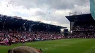 leicester city fans at west ham away 2 1 15 8 15    leicester fans out sing the hammers