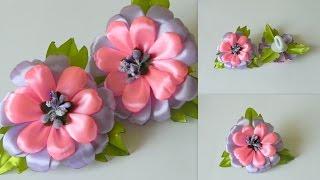 Цветы из лент  Резинка для волос канзаши