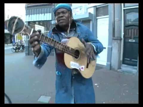 Funny street guitar player Netherlands