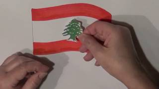 Learn geography for kids How to draw a flag Lebanon