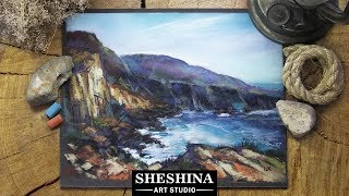 How to draw a sea bay with soft pastels 🎨 SEASCAPE