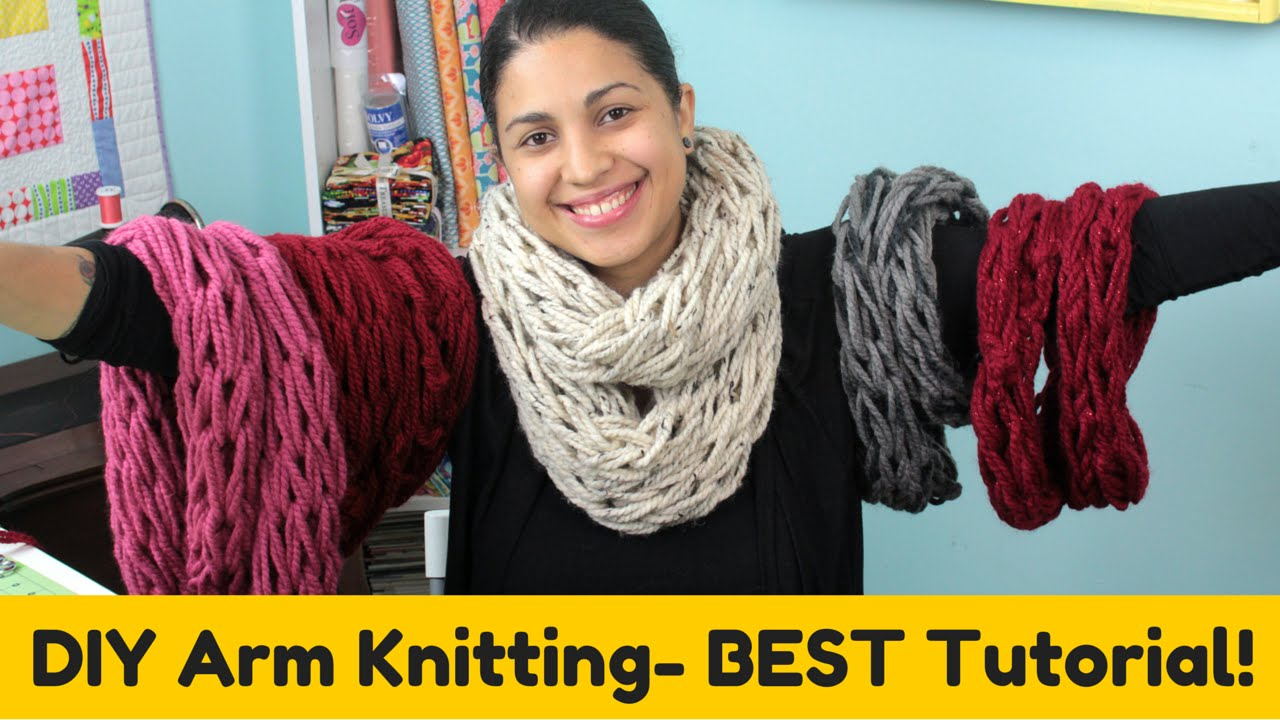 Arm Knitting Step By Step : Diy arm knitting infinity scarf cowl best tutorial youtube