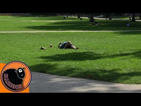 Hungover Illini on the Quad