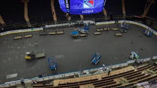Time-lapse of Madison Square Garden transforming from basketball court to hockey rink | ESPN