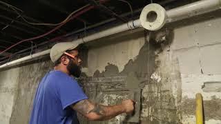 Interior Parging/ Drylok Paint/ Cove Base