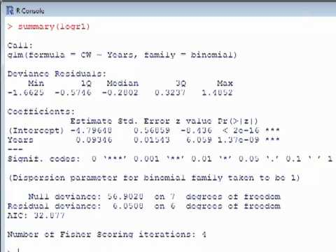 GLM in R: logistic regression example