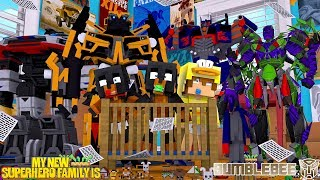 Minecraft MY NEW SUPERHERO FAMILY IS...... BUMBLEBEE & THE TRANSFORMERS