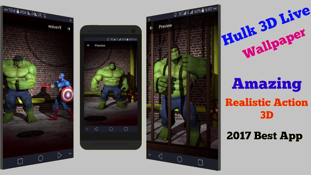 Hulk Live Wallpaper Realistic Action 3D Graphics Any Android