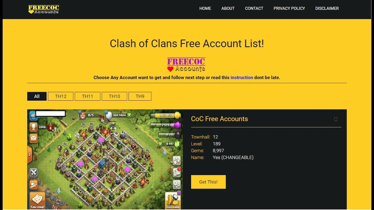 Clash Of Clans Free Accounts Get Free Coc Account 2018 Youtube