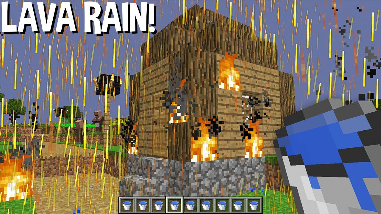DONT LEAVE house when its LAVA RAIN in Minecraft !!!