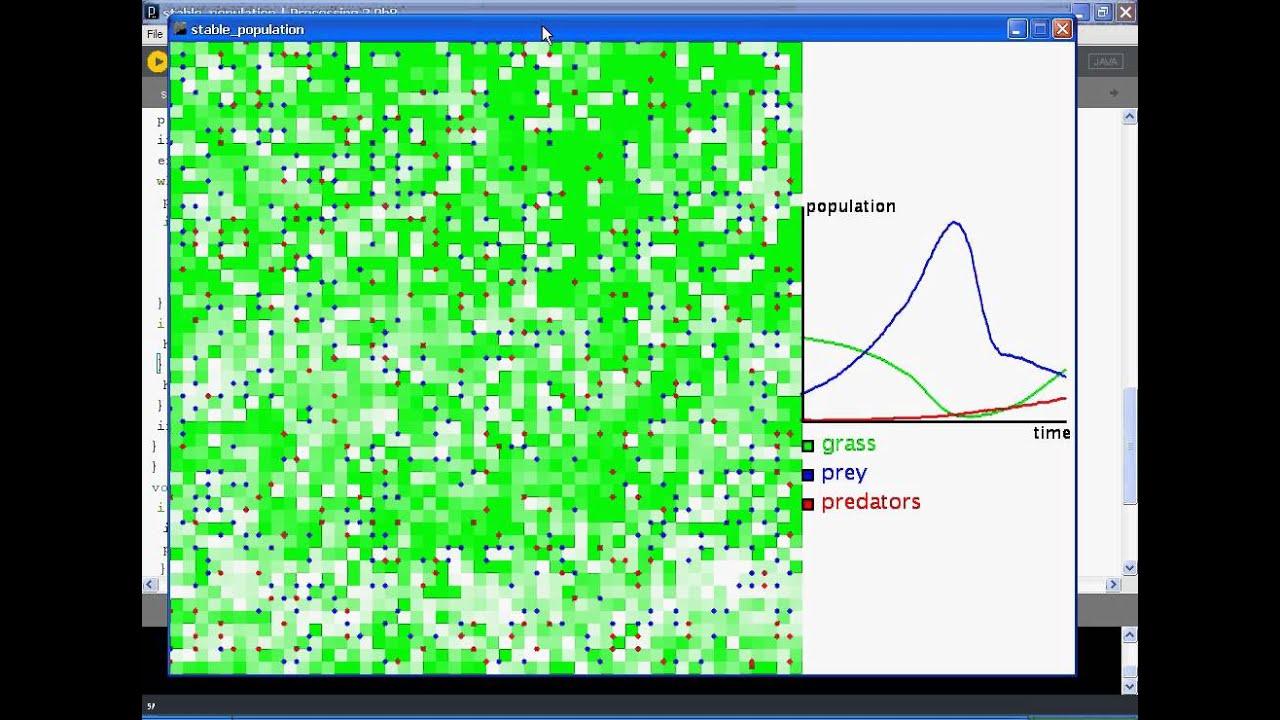 population dynamics simulation (processing)
