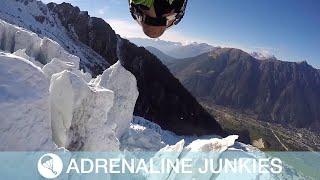 Incredible Base Jumper Flies Through Glaciers