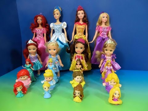 LEARN SIZES FROM SMALLEST TO BIGGEST with Disney Princess Ariel Rapunzel Belle Cinderella Dolls