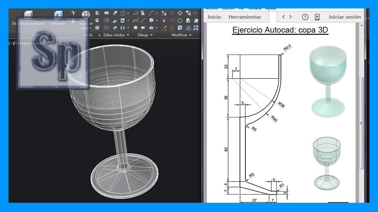 Autocad ejercicio paso a paso dibujar copa 3d en autocad for Programa para dibujar en 3d gratis