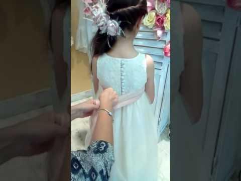Como hacer lazo en vestido de comunion