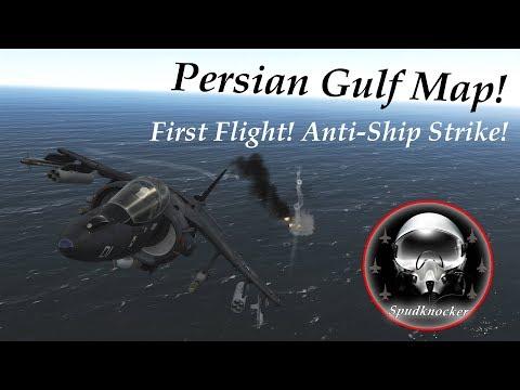 DCS Persian Gulf Map - First Flight! - Rain Drops Effect - Anti-Ship Strike