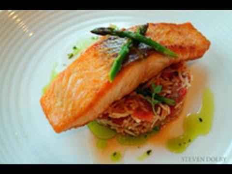 pan-fried-salmon,-spanish-rice-with-cilantro-oil-recipe