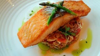Pan-fried Salmon, Spanish Rice With Cilantro Oil Recipe