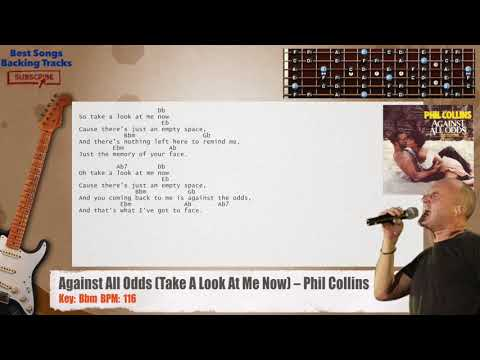 Against All Odds (Take A Look At Me Now) - Phil Collins Guitar Backing Track with chords and lyrics