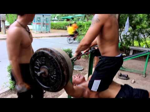 Bangkok Hardcore Open Air Weights Gym. Lumpini Park Bangkok Thailand.