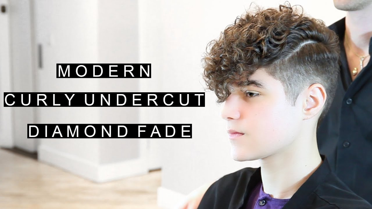 Modern Curly Undercut Diamond Fade Unique Mens