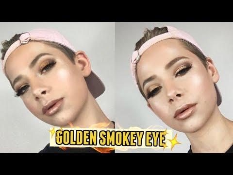 GLAMOROUS GOLD SMOKEY EYE MAKEUP TUTORIAL