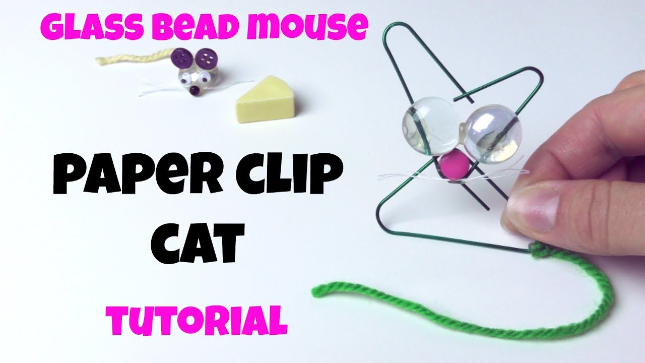 How To Make Paper Clip Cat Cute Glass Marble Bead Mouse Paper