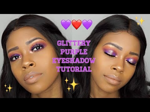Purple Glitter Eyeshadow Tutorial Dark Skin || BH cosmetics || Hooded Eyes thumbnail